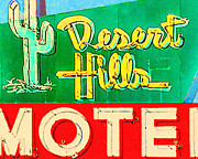Motel Digital Art Prints - Desert Hills Motel Print by Wingsdomain Art and Photography