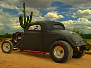 High Desert Mixed Media Framed Prints - Desert Hot Rod Framed Print by Jerry L Barrett
