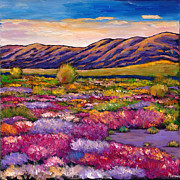 Hills Painting Prints - Desert in Bloom Print by Johnathan Harris