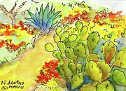 Arizona Memories Paintings - Desert In Bloom by Nancy Matus