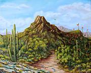 Desert Landscape Gambel's Quail Print by Judy Filarecki