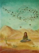 Chanting Painting Prints - Desert Mantra Print by Bernadette Wulf