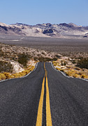 Double Yellow Line Prints - Desert Road Leading Into The Distance Print by Gary Yeowell