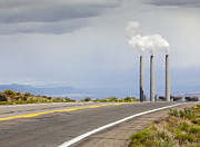 Scrub Brush Framed Prints - Desert Road Leading Towards Smokestacks Framed Print by Paul Edmondson