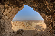 Rock Shelter Metal Prints - Desert Seen From Cave Metal Print by Noam Armonn