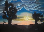 Sunset Drawings Originals - Desert Sky in Yucca Valley by Terry Godinez
