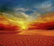 Sand Hill Photo Posters - Desert sunset Poster by MotHaiBaPhoto Prints