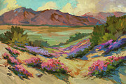 Sand Dunes Painting Framed Prints - Desert Verbena at Borrego Springs Framed Print by Diane McClary