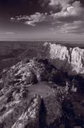 Desert View At Grand Canyon Arizona Bw Print by Steve Gadomski