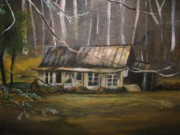 Gatlinburg Painting Framed Prints - Deserted House in Gatlinburg Framed Print by Joseph Baker
