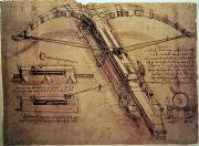 Ink Drawing Paintings - Design for a Giant Crossbow by Leonardo Da Vinci