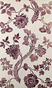 Purple Flowers Tapestries - Textiles Posters - Design for a silk damask Poster by Anna Maria Garthwaite