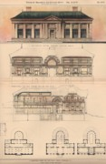 Research Paintings - Design for the Public Library. Pawtucket RI. 1899 by Cabot and Everett and Mead