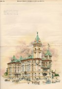 Victorian Buildings Paintings - Design of Bexar County Court House. San Antonio TX. 1894 by James Riely Gordon