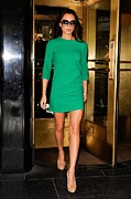 Three Quarter Sleeves Framed Prints - Designer Victoria Beckham Wearing Framed Print by Everett