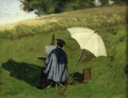 Umbrella Prints - Desire Dubois Painting in the Open Air Print by Henri Joseph Constant Dutilleux