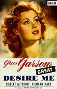 1940s Poster Art Framed Prints - Desire Me, Greer Garson On 1-sheet Framed Print by Everett