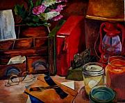 Desk Paintings - Desk Top by Donna Teleis