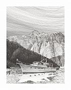 Marine Drawings Framed Prints - Desolation Sound Solitude Framed Print by Jack Pumphrey