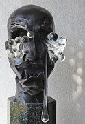 Portraits Sculpture Acrylic Prints - DESPAIR  from Raw Emotions series Acrylic Print by Zoja Trofimiuk