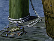 Blue Crab Paintings - Desperate Escape by Jim Ziemer