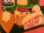 Wine Reliefs Prints - Dessert and Drinks Print by Cynthia Walker-Wiggins