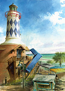 Lighthouse Painting Originals - Destin Lighthouse by Andrew King