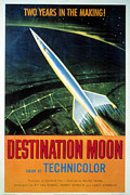 Classic Sf Posters Framed Prints - Destination Moon, 1950 Framed Print by Everett