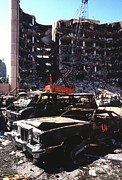 Oklahoma City Bombing Posters - Destroyed Automobiles Near The Bombed Poster by Everett