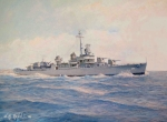 Navy Paintings - Destroyer Halsey Powell by William H RaVell III