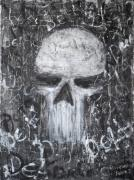 Grunge Skull Paintings - Destructive Death by Roseanne Jones