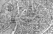 Urban Drawings Prints - Detail from a map of Paris in the reign of Henri II showing the quartier des Ecoles Print by French School
