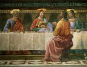 Italian Meal Framed Prints - Detail from the Last Supper Framed Print by Domenico Ghirlandaio
