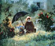 Tree Roses Photos - Detail of a Gentleman reading in a garden by Carl Spitzweg