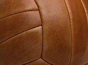 Textile Framed Prints - Detail Of A Leather Sports Ball Framed Print by Tobias Titz