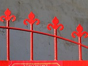 Entrance Door Framed Prints - Detail of a Red Iron Gate Framed Print by Yali Shi