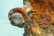 Reddish Flaking Iron Oxide Posters - Detail of a Rusted Dock Pier IV Poster by David Letts