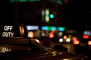 Traffic Light Framed Prints - Detail Of A Taxi At Night, New York City, Usa Framed Print by Frederick Bass