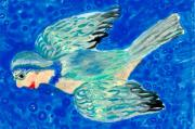 Magical Ceramics Posters - Detail of Bird People Flying bluetit or chickadee Poster by Sushila Burgess