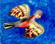 People Ceramics Metal Prints - Detail of Bird People Flying Chaffinch  Metal Print by Sushila Burgess