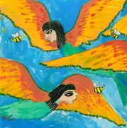 Sue Burgess Paintings - Detail of Bird People Little Green Bee Eaters of Upper Egypt 1 by Sushila Burgess