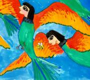 Sue Burgess Paintings - Detail of Bird People Little Green Bee Eaters of Upper Egypt 2 by Sushila Burgess