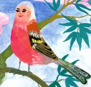 Show Me The Monet Posters - Detail of Bird People the Chaffinch Family Father Poster by Sushila Burgess