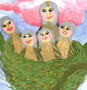 Detail Of Bird People The Chaffinch Family Nest Print by Sushila Burgess