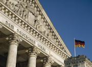 Neo-classical Posters - Detail Of Bundestag Reichstag With Poster by Axiom Photographic