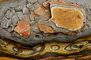 Point Lobos Reserve Framed Prints - Detail Of Eroded Rocks Swirled Framed Print by Charles Kogod