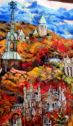 Needle Tapestries - Textiles Metal Prints - Detail of Fall Metal Print by Kimberly Simon