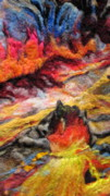 Reds Tapestries - Textiles Posters - Detail of Fire Poster by Kimberly Simon
