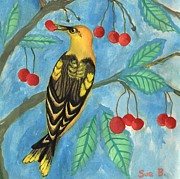 Sue Burgess Prints - Detail of Golden Orioles in a Cherry Tree Print by Sushila Burgess