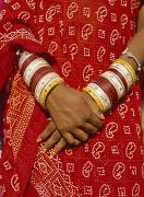 Dresses Prints - Detail Of Hands And Sari Of Woman Print by Axiom Photographic